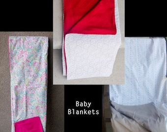Hand made baby blanket cotton and flannel; gift under 30
