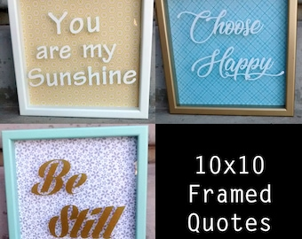 10x10 shadowbox frame quote; Gifts under 25; handmade;