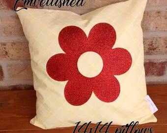 hand made yellow embellished decorative 14x14 pillow with a spring flower in bronze glitter vinyl
