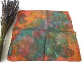1980s vintage Lady 39 s Silk Handkerchief in green and Orange Abstract Design Square Earth and Forest Tones handkerchief Ladies Purse Accessory