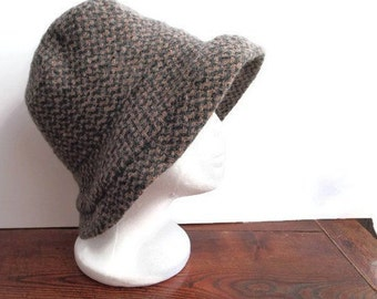 ce854fa29da Woven Wool Alpaca Mohair Hat Grey Beige Womens Warm Winter Bucket Hat 1990s  Vintage Hat made in Italy Gift For Her