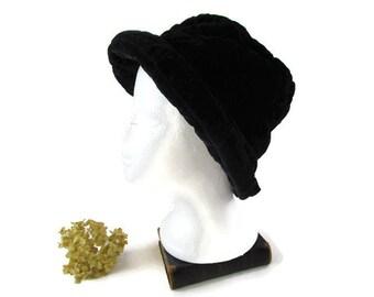 082883d31e042 Vintage Black Velvet Hat Black Velvet Fedora Black Casual Womens Hat Spring  Fall Winter Accessories