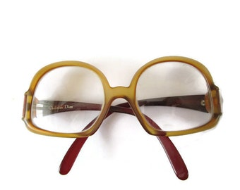 d6de843a191f Fabulous CHRISTIAN DIOR Round Glasses Full Frame Glasses 70s Glasses Beige  Amber Glasses Frames Womens Eyegasse Big Glasses Hipster Glasses