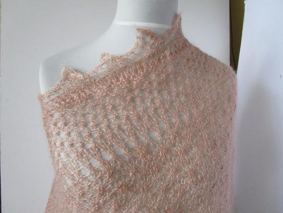 Kid Mohair Scarf Fine Wool Shawl Vintage Pink Han… - image 5