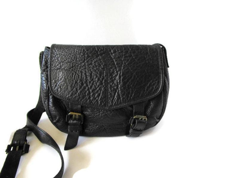870ea7d6f8 Vintage Black Genuine Leather Saddle Bag Crossbody Bag Womens Shoulder Bag  Black Thick Leather Purse Black Shoulder Bag