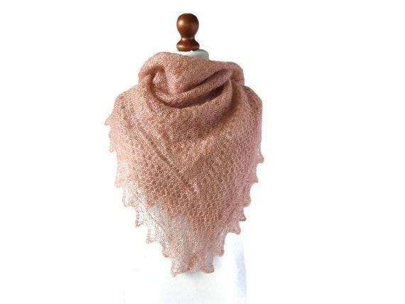 Kid Mohair Scarf Fine Wool Shawl Vintage Pink Han… - image 1