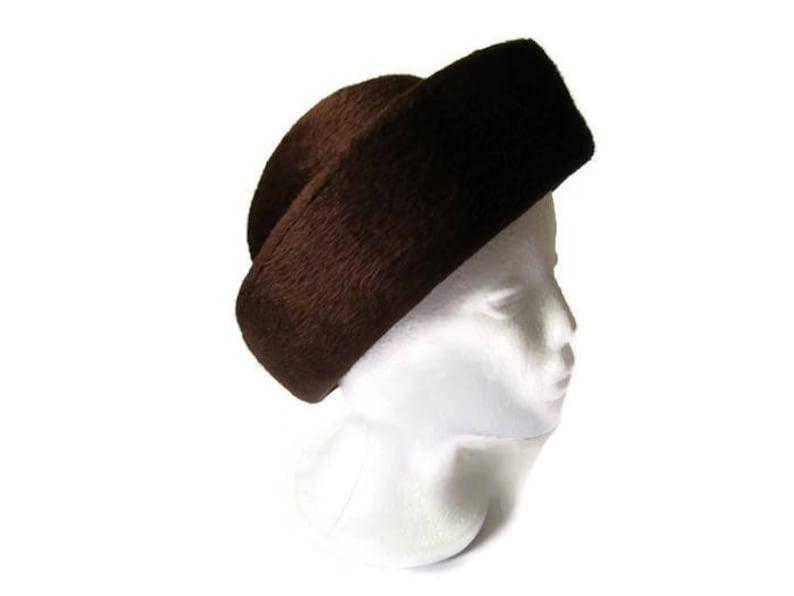 a77c29fdebd1d7 Vintage 60s Hat Coffee Brown Wool Felt Hat Womens Formal Hat   Etsy