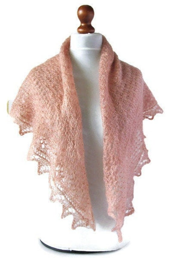 Kid Mohair Scarf Fine Wool Shawl Vintage Pink Han… - image 8