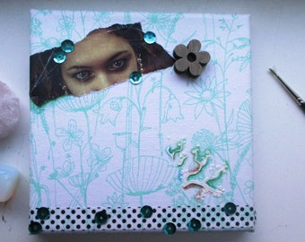Decoupage Wall Art Canvas Collage Mixed Media