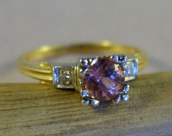 Breathtaking 14k Gold ring with 60ct Pink Tourmaline and two accent Diamonds - Size 5.5