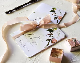 Wedding Vow Book Personalized, Custom Vow Book Calligraphy, Wedding Vow Booklet
