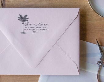 Return Address Stamp Palm Tree Stamp, Address Stamp Self Inking Custom Stamp, Return Address Stamp Self-Inking Address Stamp