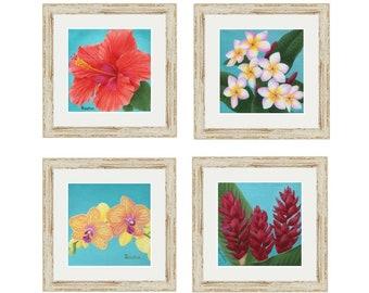 Hawaiian Decor, Botanical Print Set of 4, Floral, Teal, Tropical Wall Decor, Coastal Decor, Beach Wall Art, Orchid, Hibiscus, Plumeria