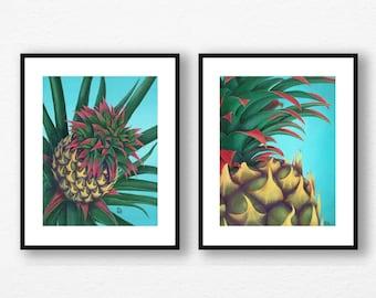 Pineapple Art Prints, wall art, Hawaiian Art, Housewarming gift, Pineapple Decor, Hawaii art prints, Teal decor, set of 2