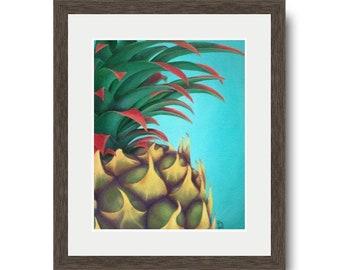 Pineapple Wall Art, Hawaiian Decor, Fine Art Print, Housewarming gift, Hawaii Tropical Fruit, Teal Artwork
