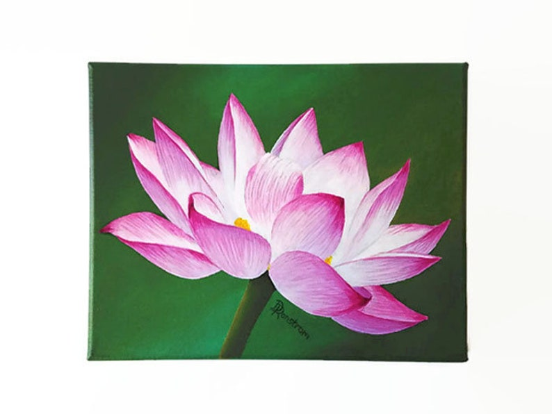 Lotus Flower Acrylic Painting Original Painting Wall Decor Etsy