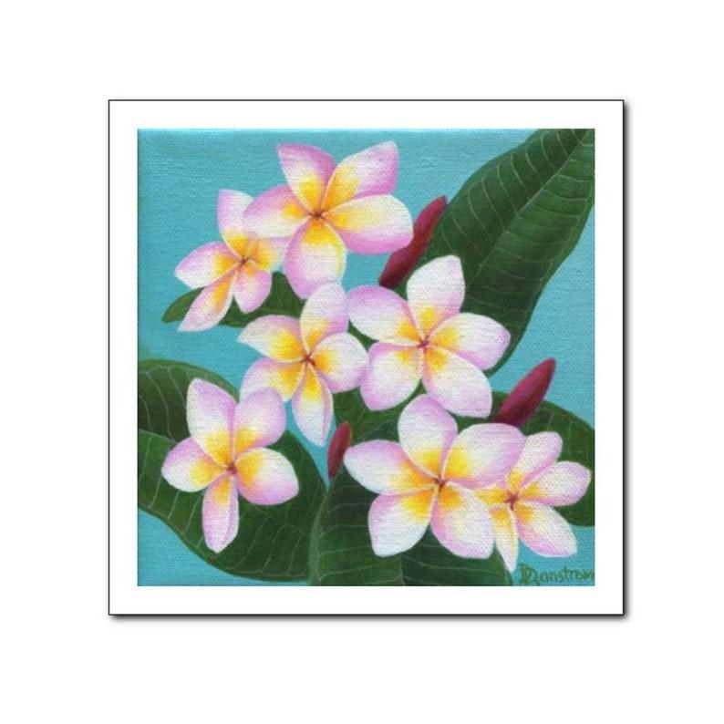 Plumeria Hawaiian Decor Botanical Print Floral Teal image 0