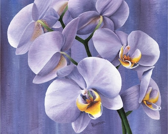 Orchid Print, Wall Art, Flowers, Botanical Art Print, Living Room Decor, Bedroom Decor, Gift for Her, Housewarming Gift, Purple, Floral
