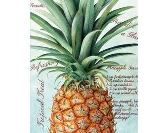 Pineapple Wall Art, Hawaiian Decor, Original Colored Pencil Drawing, Housewarming gift, Hawaii Tropical Fruit, Teal Artwork