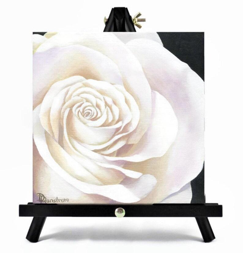 Rose Original Art Acrylic Painting Black and White Art Wall image 0