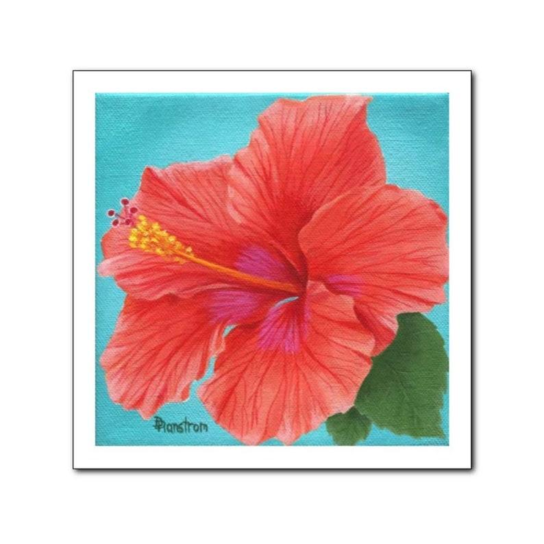 Hibiscus Hawaiian Decor Botanical Print Floral Teal image 0