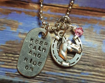 Handstamped Keep Calm and Ride On necklace