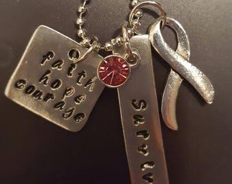 Handstamped Breast Cancer Survivor necklace. Other cancer gems available.