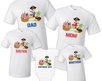 865caf03 Pirate T shirt Captain Sailing tee Boat Anchor Family Birthday Matching  Party Celebration Kid Reunion Mommy, dadddy, sister, brother
