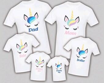 7e4056fb61cf Unicorn Birthday Matching T-shirts Party Family Kid Tshirt Mom, dad, sister