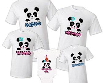 6fee5a1466 Family Matching Panda Bear Kawaii Birthday Party T-shirts Shirt Celebration  Reunion Kids Boy