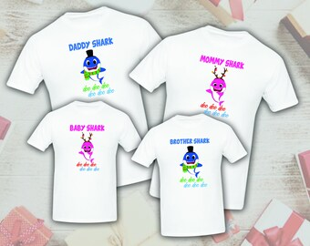 aca40c217 Baby Shark Christmas Birthday Celebration Matching T-shirts Party Family  Kid Reunion Mom, dad, sister