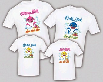 11592a75 Baby Shark Birthday Matching T-shirts Party Family Kid Reunion Celebration,  Baby Shower Tee Shirt Mom, dad, sister Script
