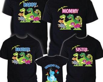 Dinosaur t shirt Birthday Matching Party Family Kid Tshirt Mom dad sister 2