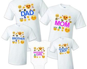 83151cf9 Emoji T shirt Birthday Matching Party Reunion Celebration Family Kid Tshirt  Mom, dad, sister. OMG, Face