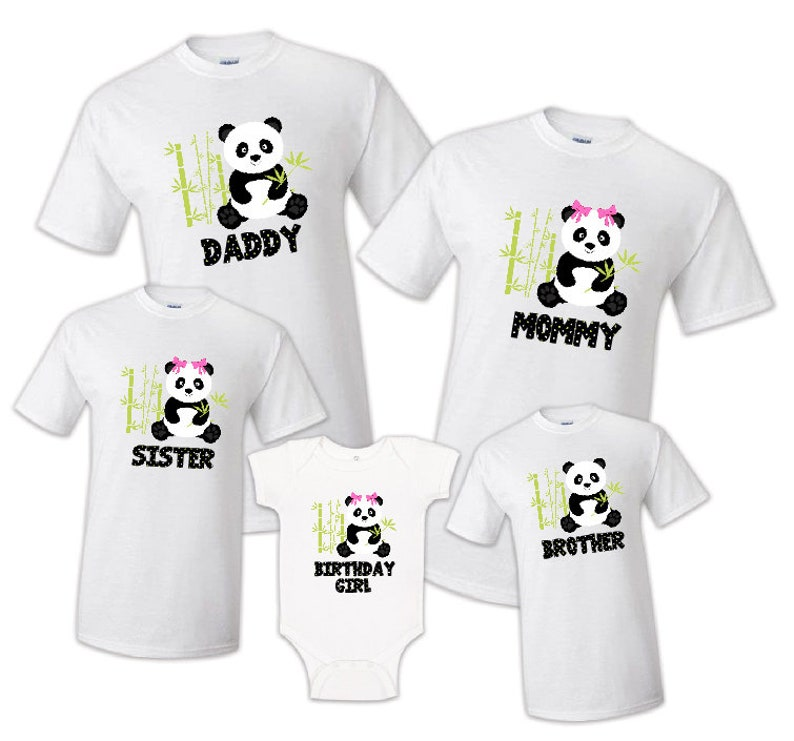 b2face6c05609 Family Matching Panda Bear Kawaii Birthday Party T-shirts Shirt Celebration  Reunion Kids Boy