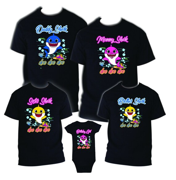 7956c0e1e Baby Shark Birthday Matching T-shirts Party Family Kid | Etsy