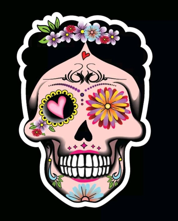 Sugar Skull Flower mexican Vinyl Sticker Decal Window Craft scrap book retro x 2