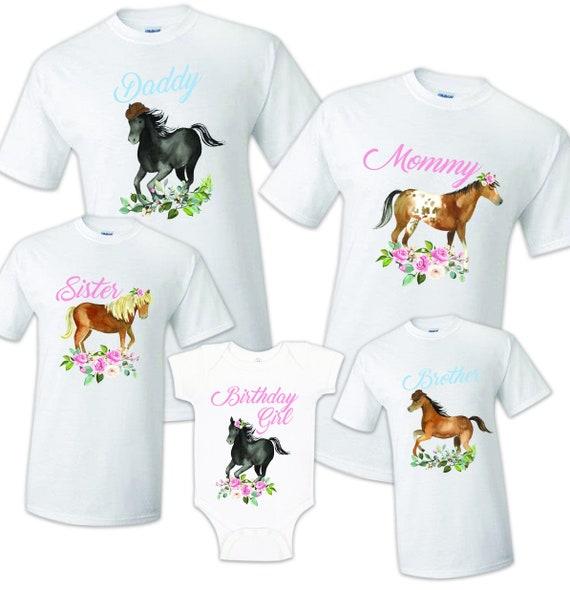 Horse Birthday T Shirt Family matching celebration reunion party tee kid Farm