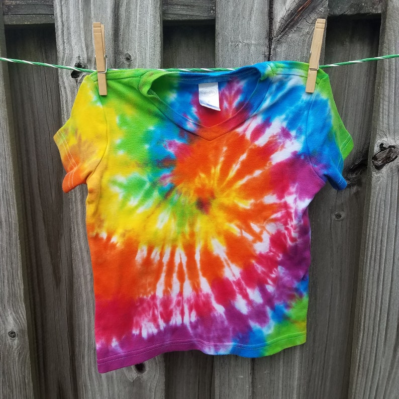 44fa23c6a343b Rainbow Spiral Tie-dye Shirt - Toddler V-neck sized 4 - Hand-Dyed