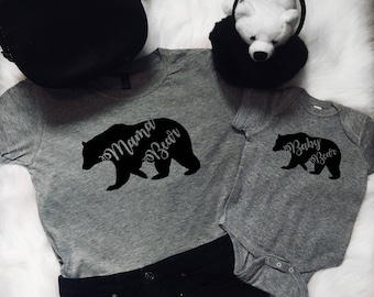 Mama Bear Baby Bear, Mommy and me Shirts, Mommy And Me Outfits, Mother's Day Gift, Baby Shower, Mom life, gift for wife, matching outfits
