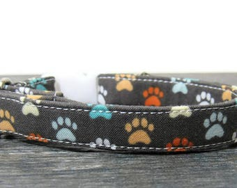 Paw Print Cat Collar, Cat Paw Collar, Gray Cat Collars, Breakaway Collars, Cotton Cat Collar, Cat Collars, Kitty Collar, Personalized Collar