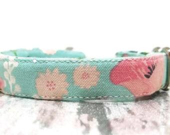 Flowers Cat Collar, Floral Cat Collar, Summer Cat Collar, Small Cat Collar, Mint Cat Collar, Breakaway Cat Collar, Cat Collars, Cute Collars