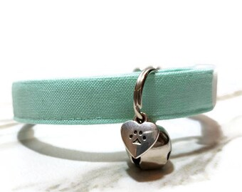 Mint Cat Collar, Spring Cat Collars, Cute Collar for Cats, Breakaway Cat Collar, Kitty Collar, Cotton Cat Collar, Solid Color Collars,