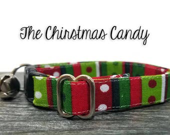 Christmas cat collar, Red and Green Collar, Candy Cane Collar, Breakaway Collars, Cotton Cat Collars, Cat Collars, Kitty Collar, Cat Collars