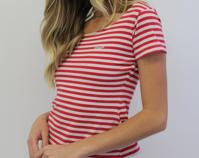 80s GUESS Red Woman's vintage Striped sailor Scoop Neck Medium