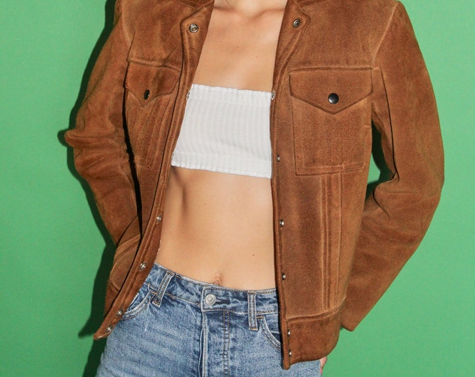 70s Unisex Woman's Brown Leather Suede Pocket Fitted Jacket, Small