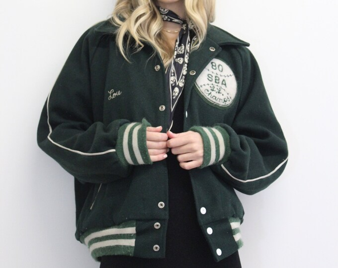 70s 80s Vintage GREEN unisex Oversized Mens High school Baseball bomber