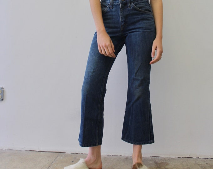 Vintage 70s Dark Denim Jc Penny Bootcut Flare Ankle Street Mid Rise Jeans size 28