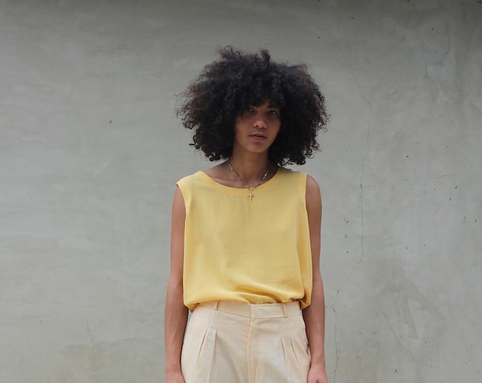 Yellow Silk Tank Top, Medium
