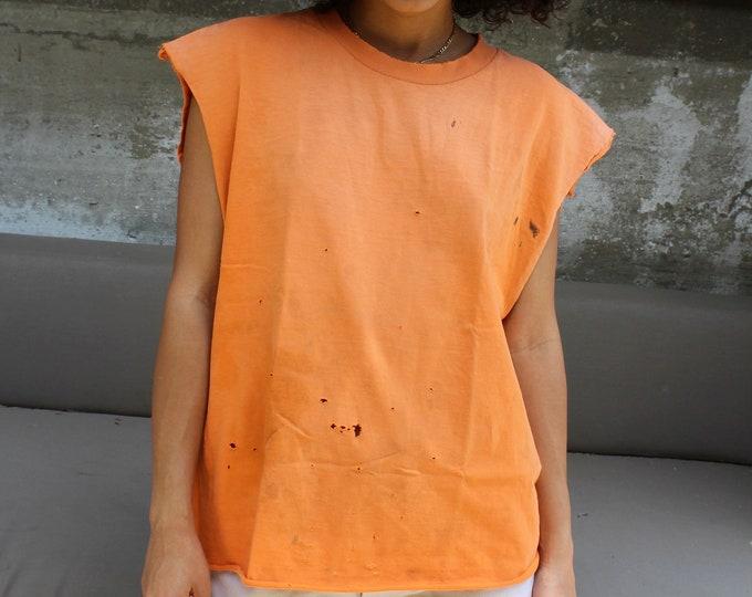 Oversized Orange cut off tank, medium